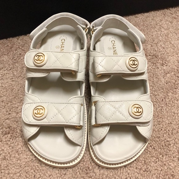 Auth Chanel White Leather Dad Sandals